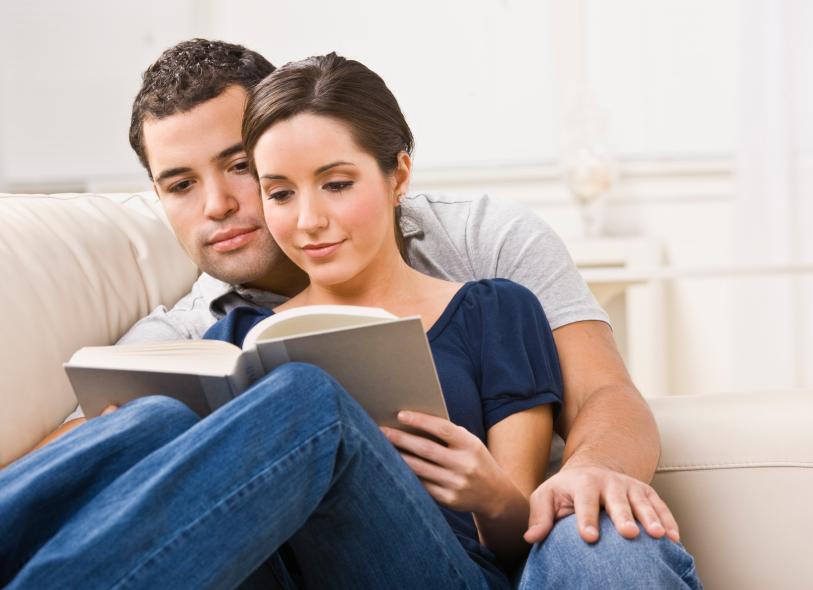 Cozy Couple Reading Book